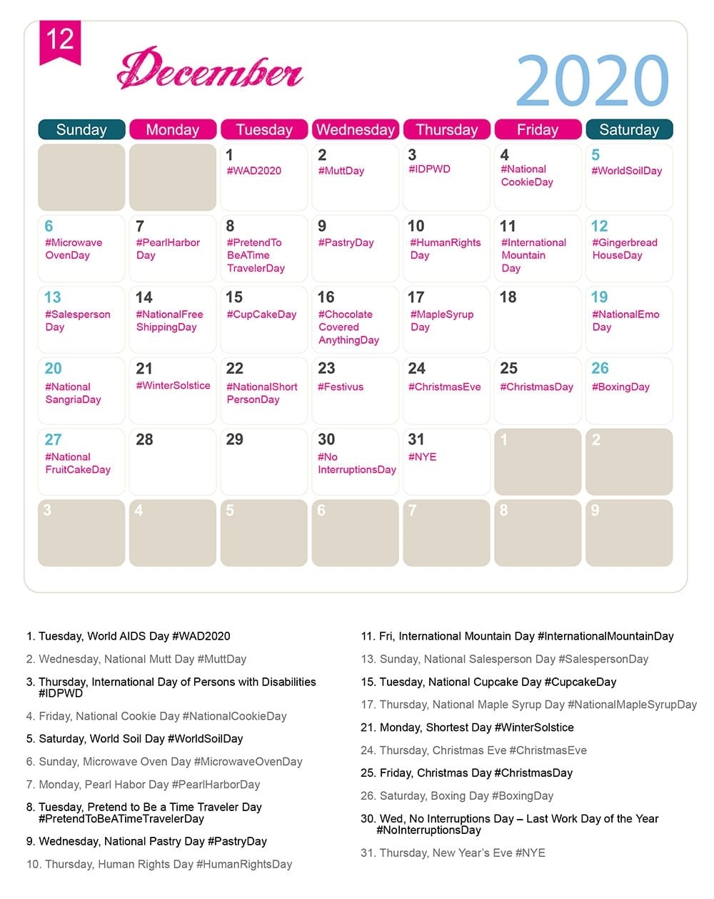 The 2020 Social Media Holiday Calendar - Make A Website Hub in Yearly Calendar Of Special Days 2020