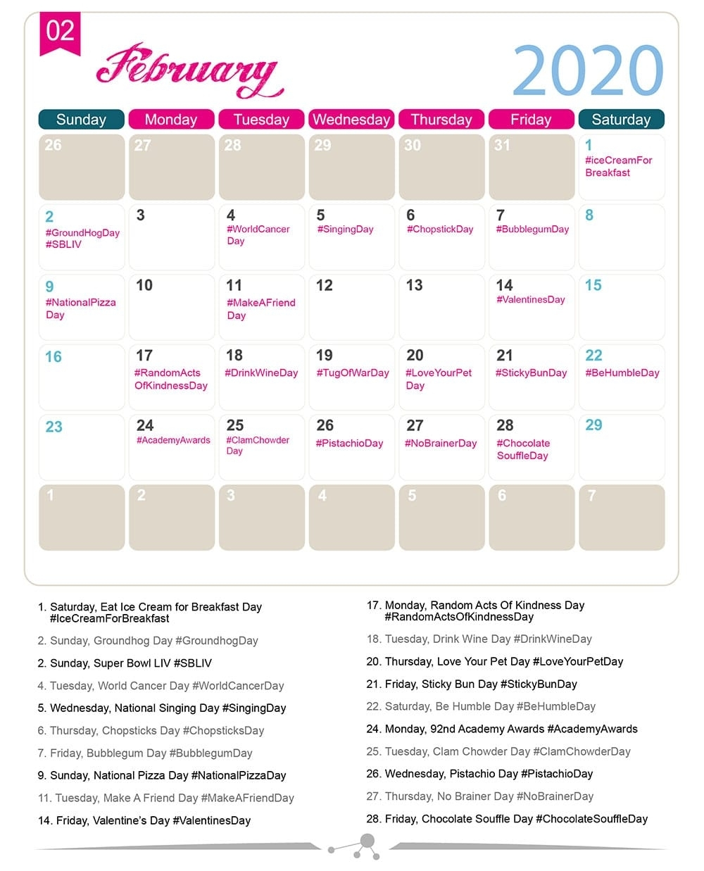 The 2020 Social Media Holiday Calendar - Make A Website Hub with regard to Please Find A Calendar On Line For Special Days Of The Year 2020