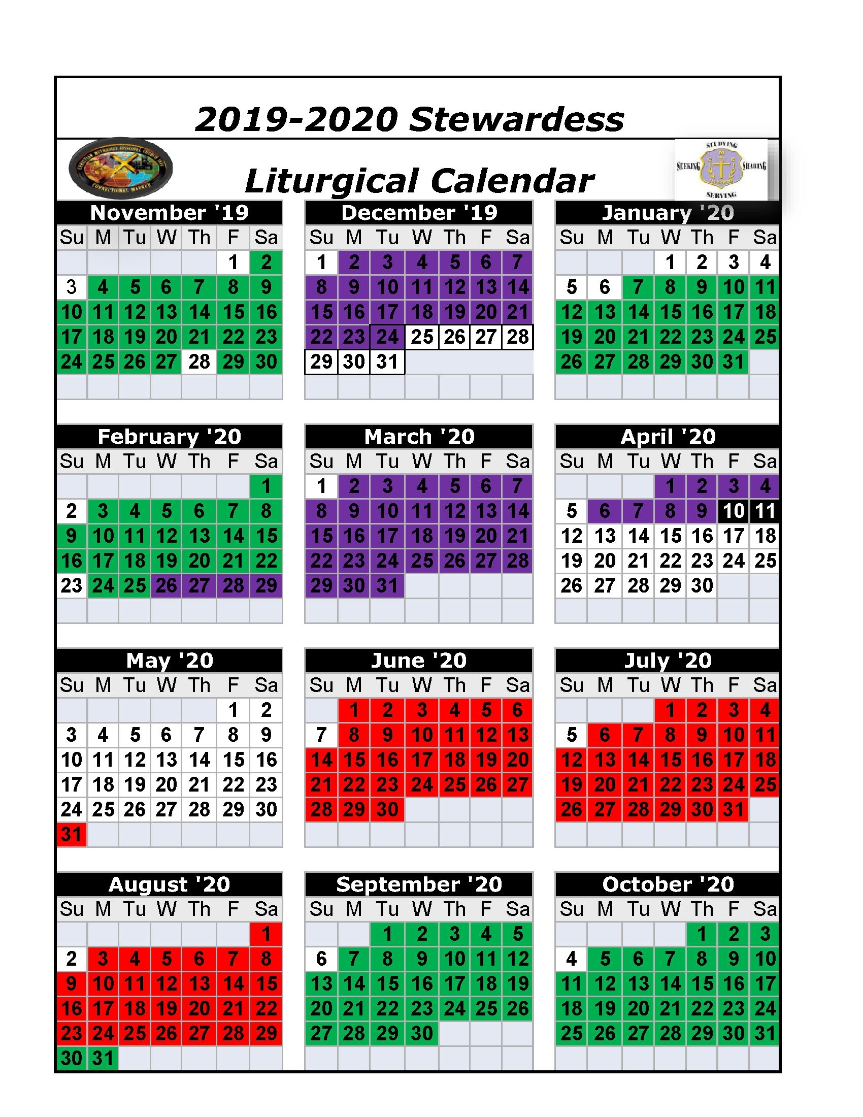 The Christian Methodist Episcopal Church for Printable Ame Liturgical Color Calendar 2020