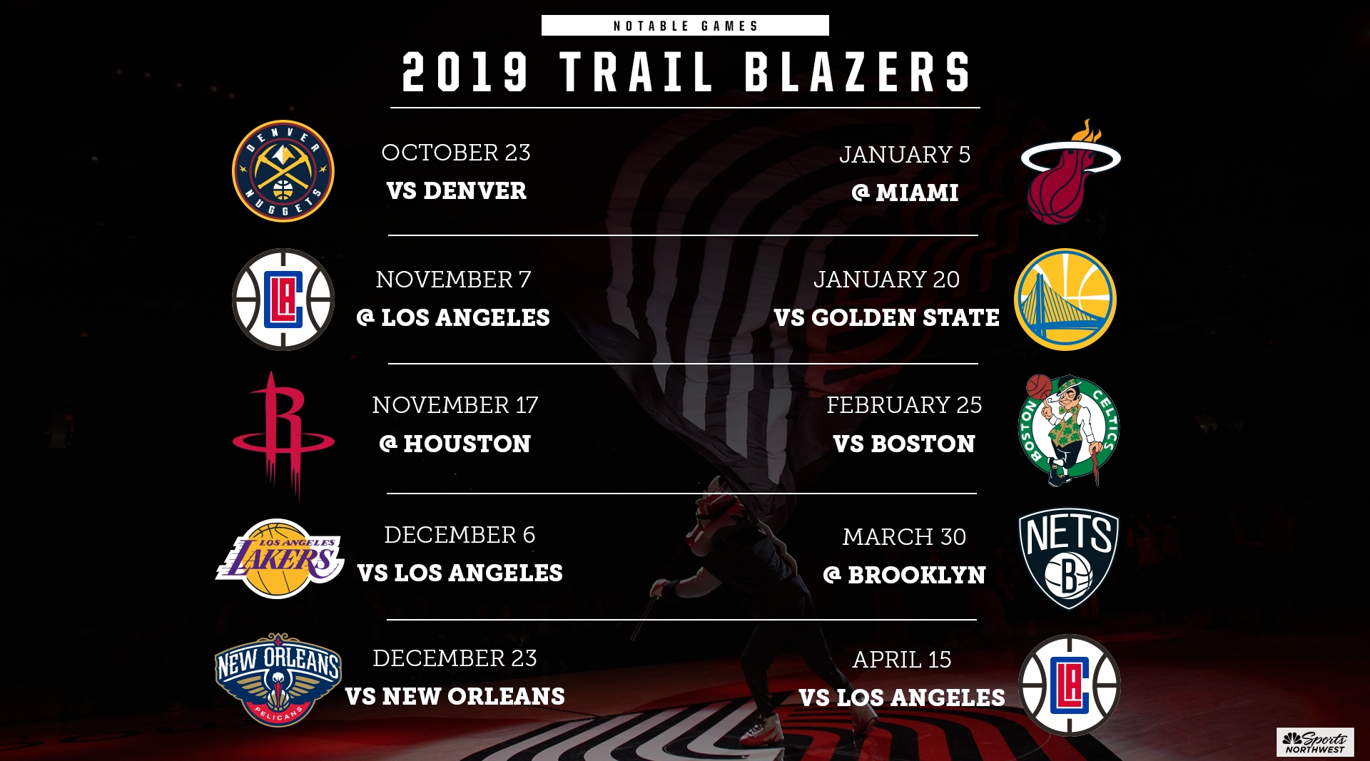 The Portland Trail Blazers 2019-2020 Nba Schedule Is Out with regard to Seahawks 2019 2020 Schedule Printable