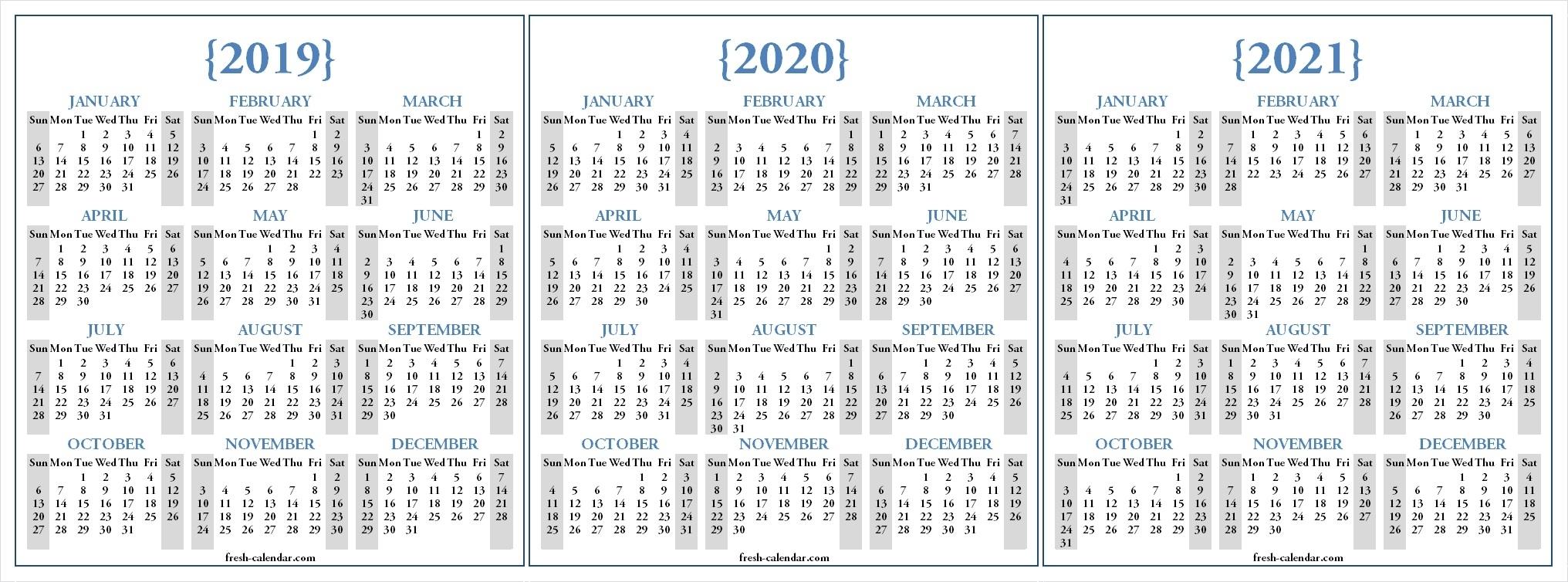 Three Yearly 2019 2020 2021 Calendar Printable Free | Blank for 2019 2020 2021 Printable Calendar