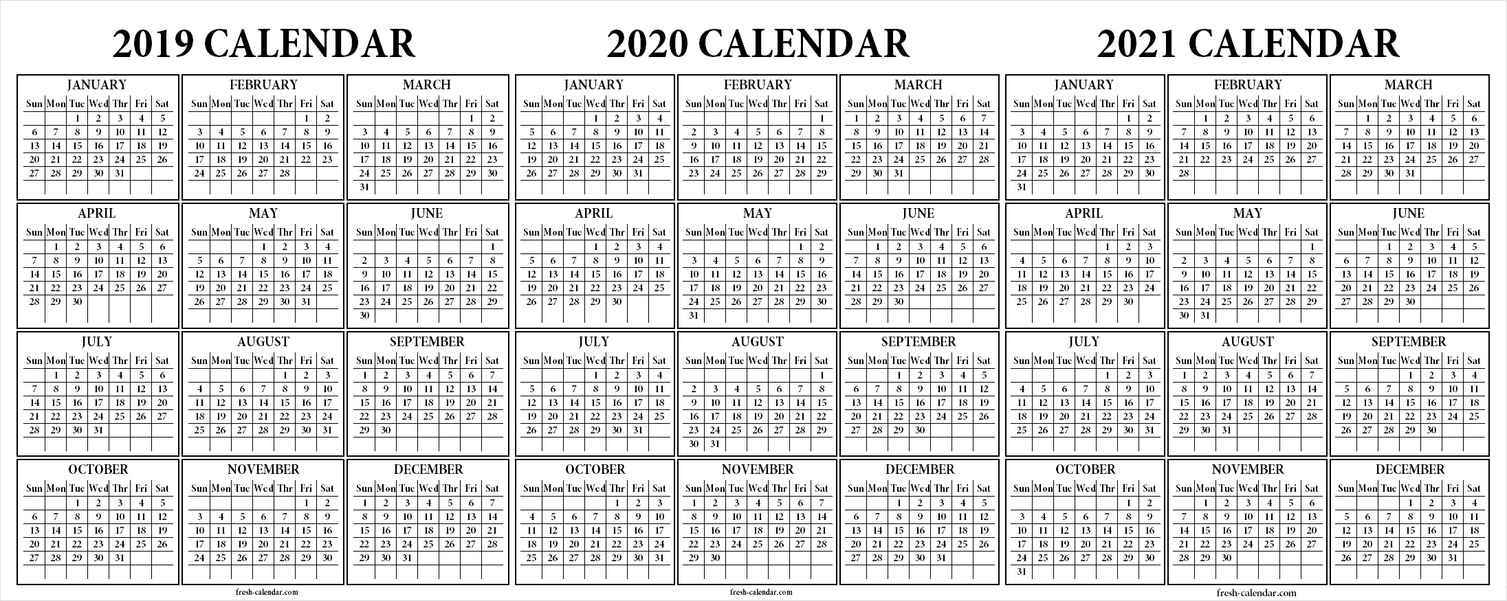 Three Yearly 2019 2020 2021 Calendar Printable Free | Blank throughout 3 Year Calendar Printable 2019 2020 2021