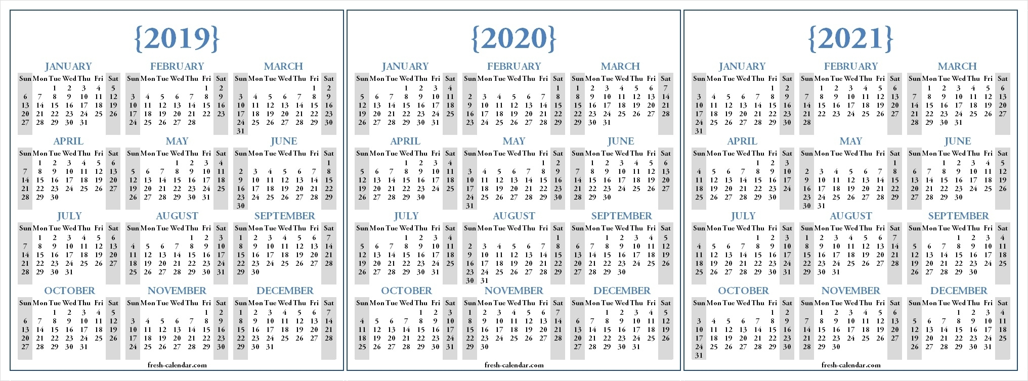 Three Yearly 2019 2020 2021 Calendar Printable Free | Blank within 2019 To 2021 Printable Calendar