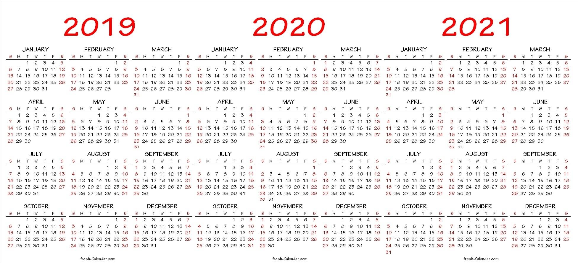 Three Yearly Calendar 2019 2020 2021 Printable Free | Blank regarding Three-Year Calendar 2019 2020 2021