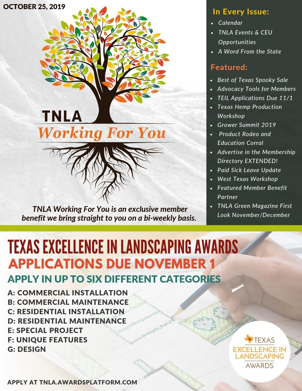 Tnla Working For You October 25, 2019Texas Nursery intended for Stephen F Austin 2020-2021 Calendar