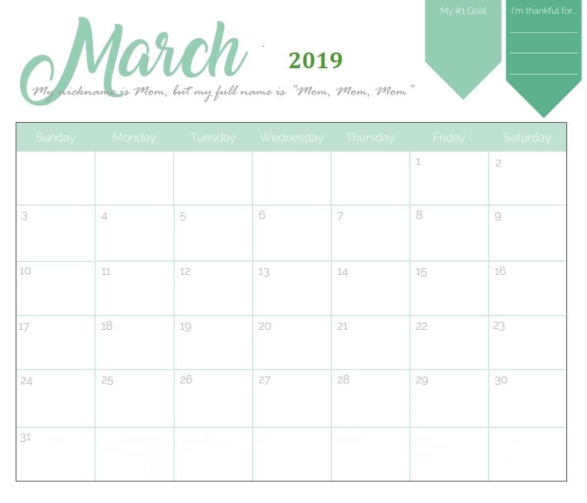 Unique March 2019 Calendar Template | Calendar March for Printable Calendar 2019 With Lines