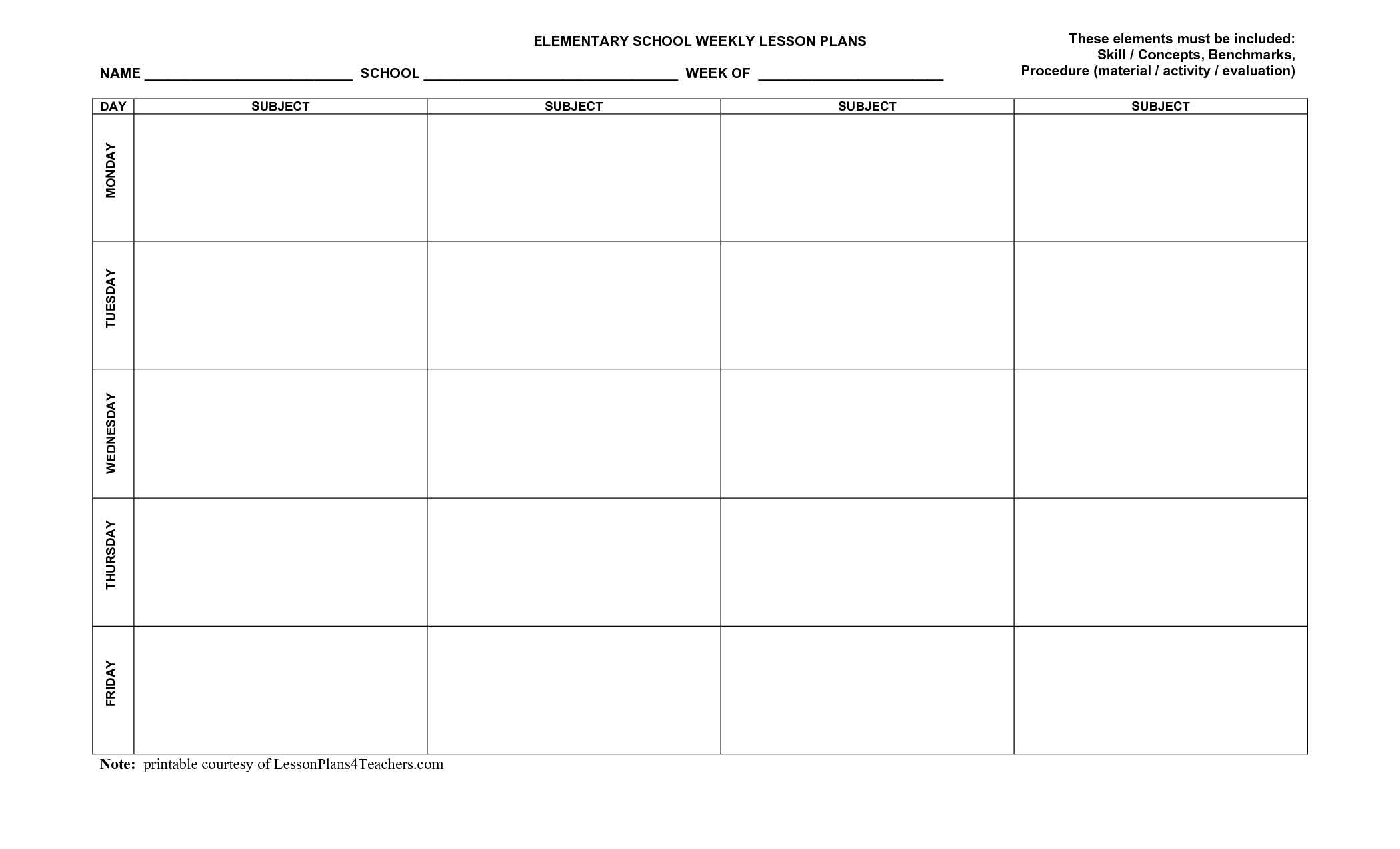 Unique Weekly Lesson Plan Templates #exceltemplate #xls pertaining to Microsoft Calendar Template Five Day