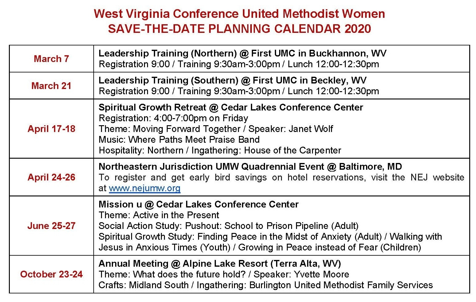 United Methodist Women (Umw) | West Virginia Conference Of intended for Downloadable Umc Liturgical Calendar 2020
