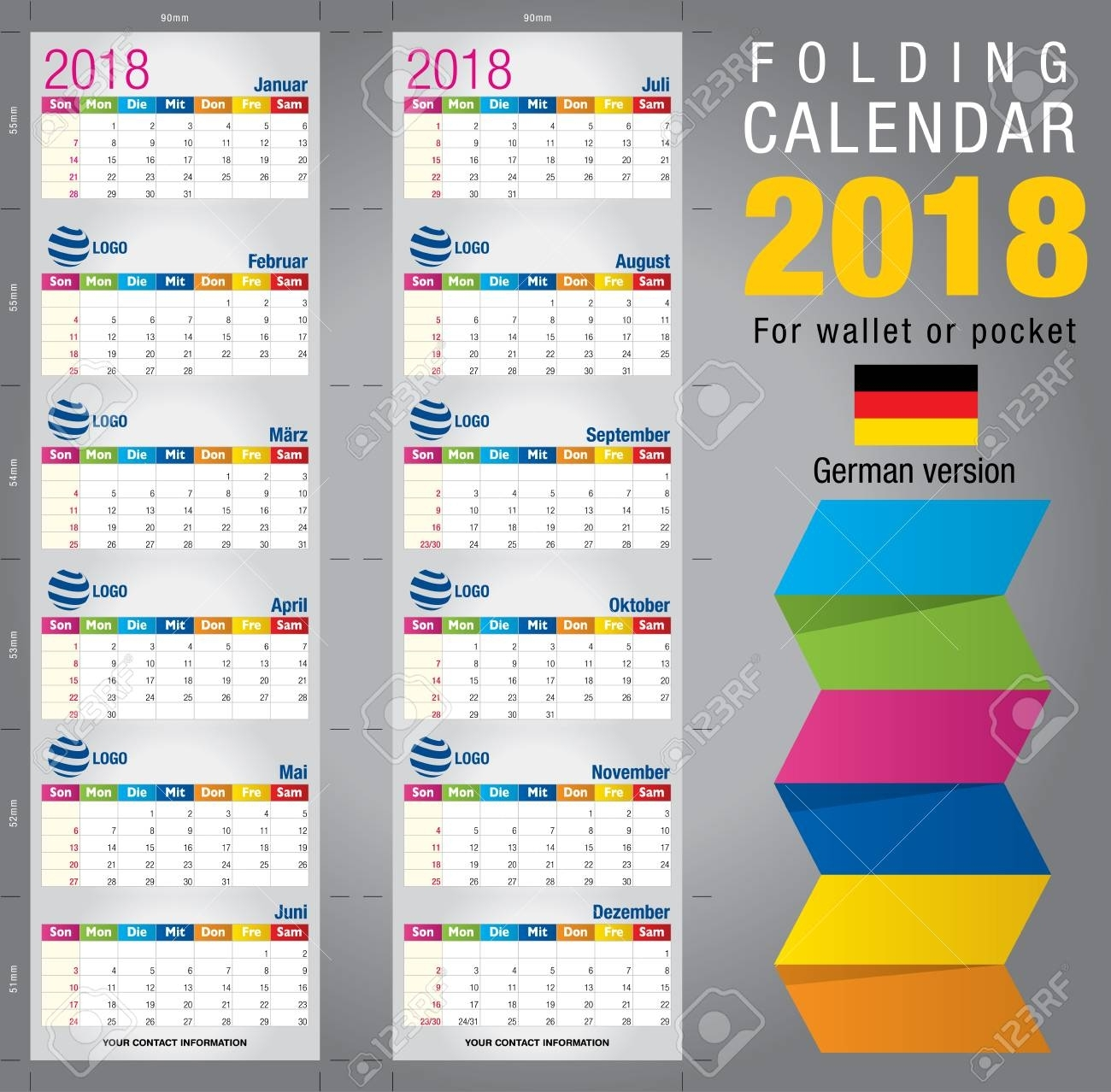 Useful Foldable Calendar 2018, Colorful Template. Open Size:.. with regard to Free Foldable Pocket Size Calendar Template