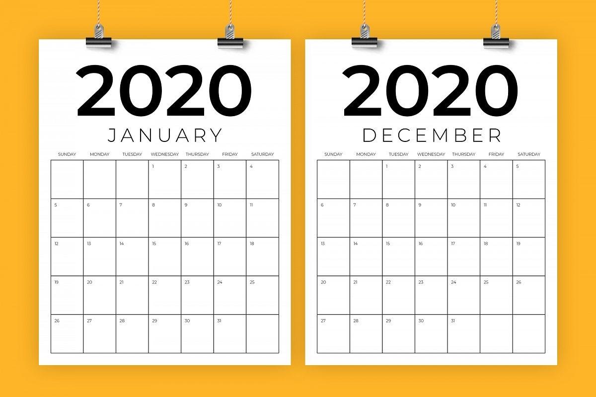 Vertical 8.5 X 11 Inch 2020 Calendar within Free 8.5 X 11 Calendars