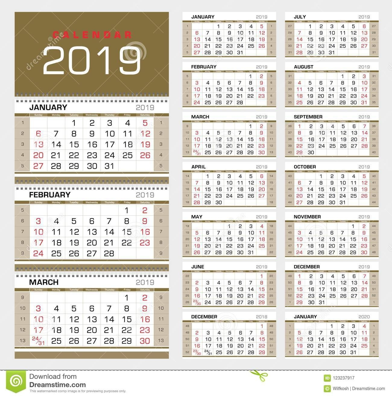 Wall Quarterly Calendar 2019 With Week Numbers. Week Start inside Calendar With Week Numbers 2019/2020