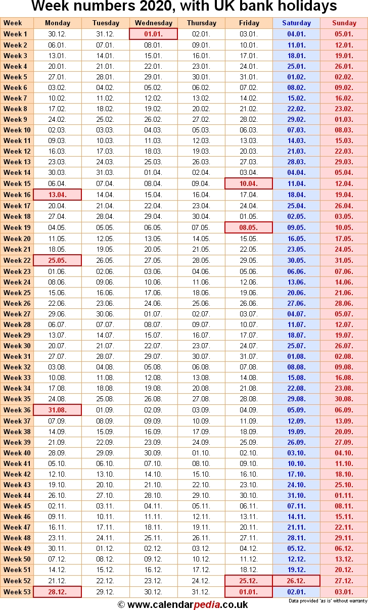 Week Numbers 2020, With Bank Holidays & Excel/pdf/word Templates within 2020 Calendar Weeks Numbered Excel