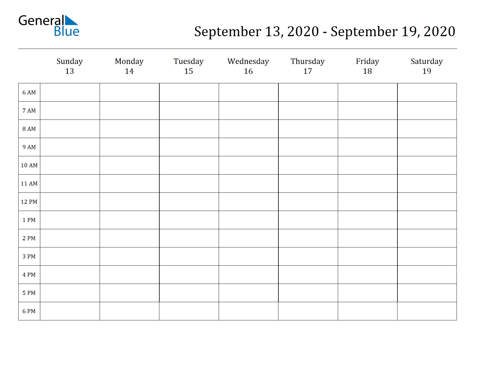 Weekly Calendar | September 13, 2020 To September 19, 2020 pertaining to Weekly Am And Pm Calendar