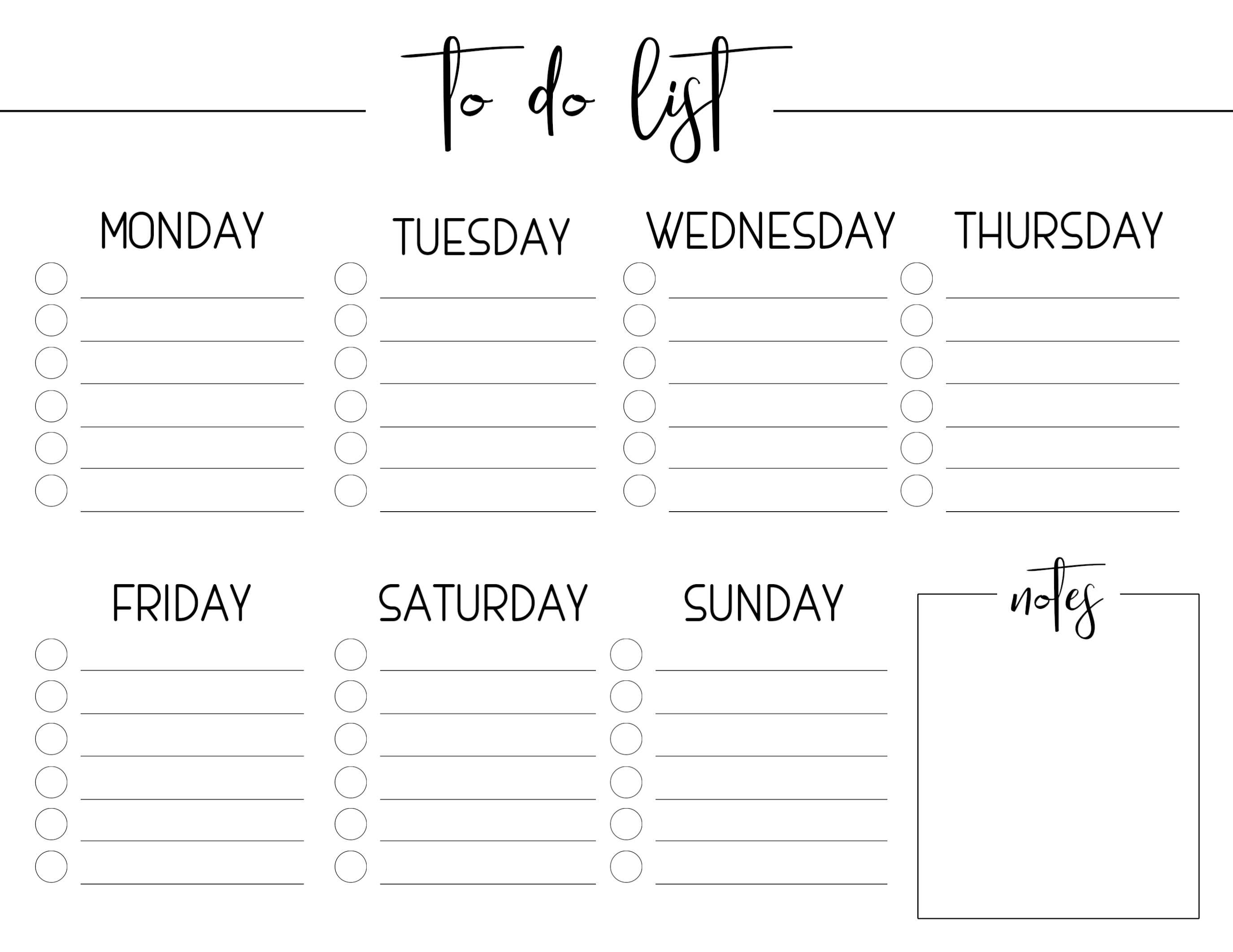 Weekly Free Printable To Do List - Paper Trail Design intended for Printable To Do Monday To Friday