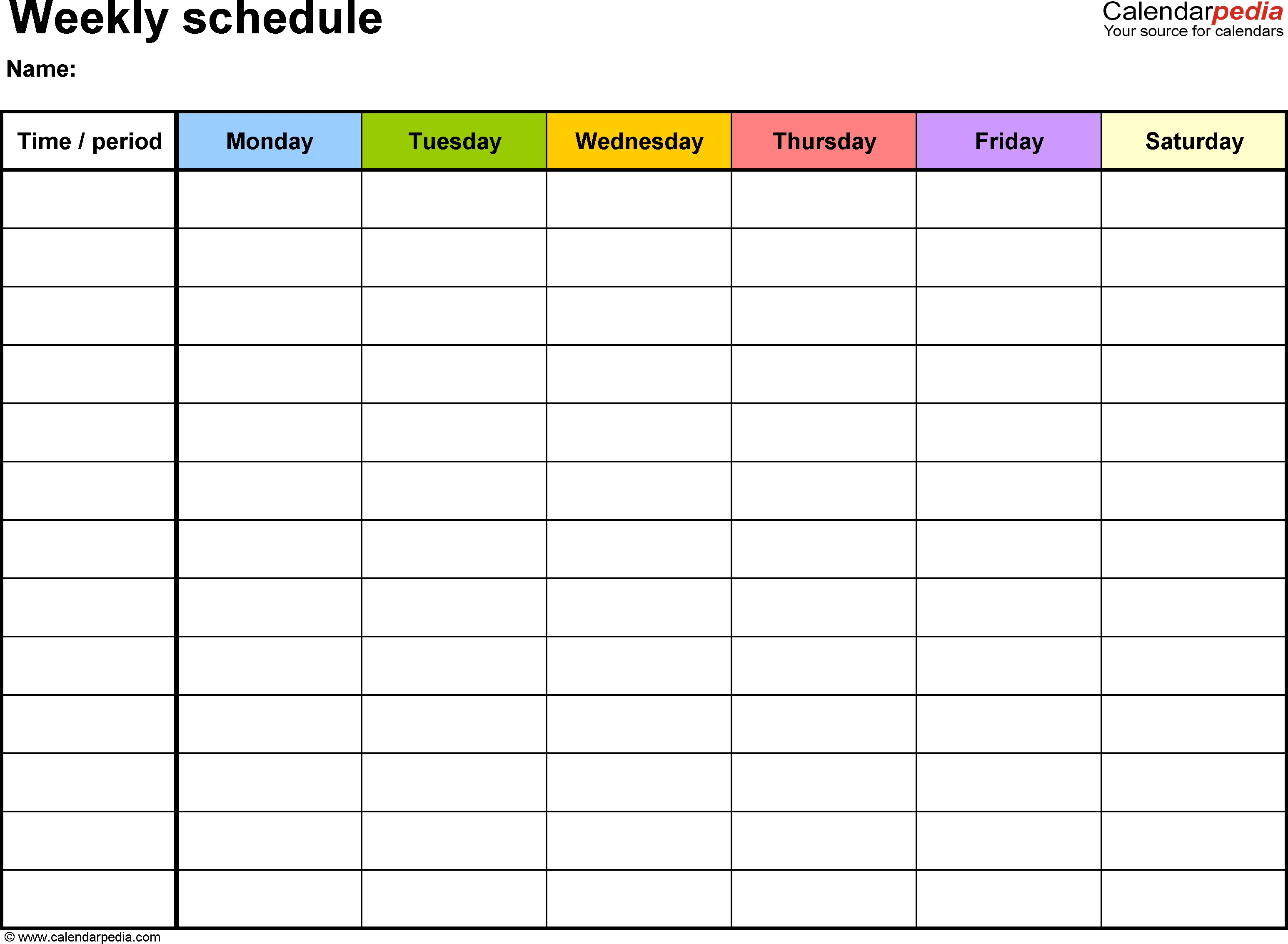 Weekly Schedule Template For Word Version 7: Landscape, 1 for Weekly Planner With Time Slots Word Template