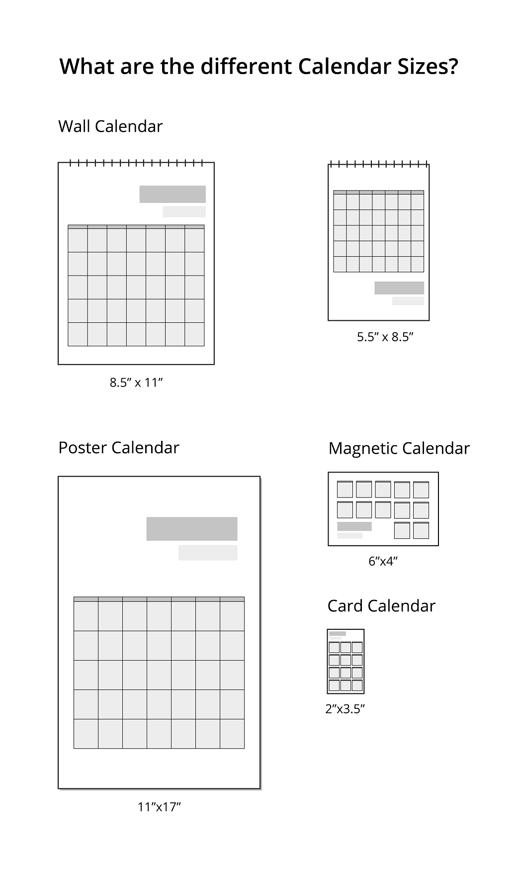 What Are The Different Calendar Sizes? | Uprinting inside Promotional One Page Year Calendars 8.5 X 11