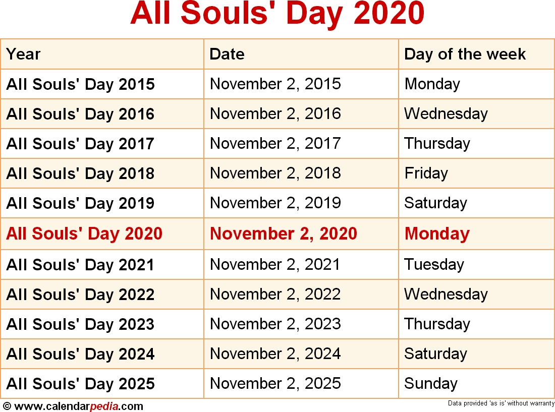 When Is All Souls' Day 2020? for Catholic Extension Calendar 2020 Pdf