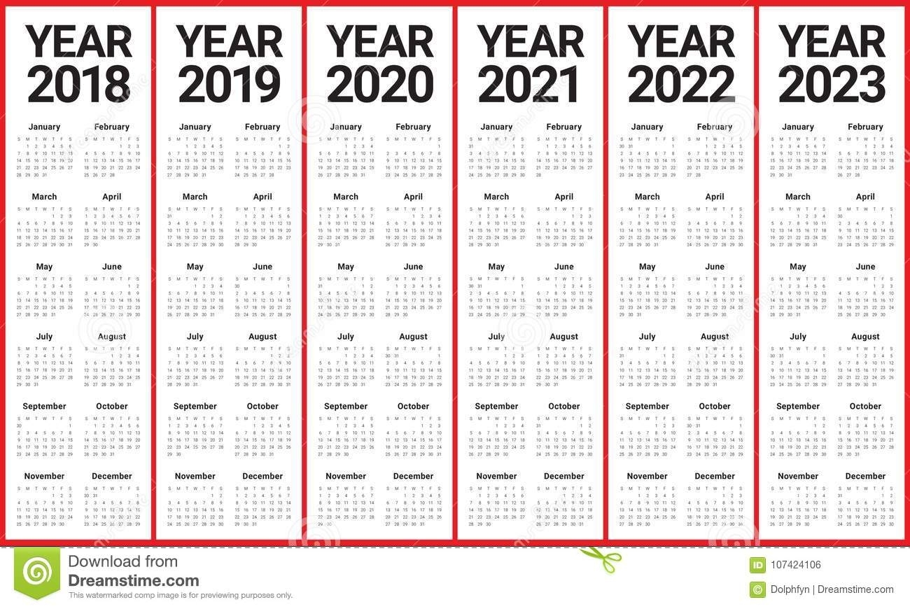 Year 2018 2019 2020 2021 2022 2023 Calendar Vector Stock for 2019 - 2023 Calendar Printable