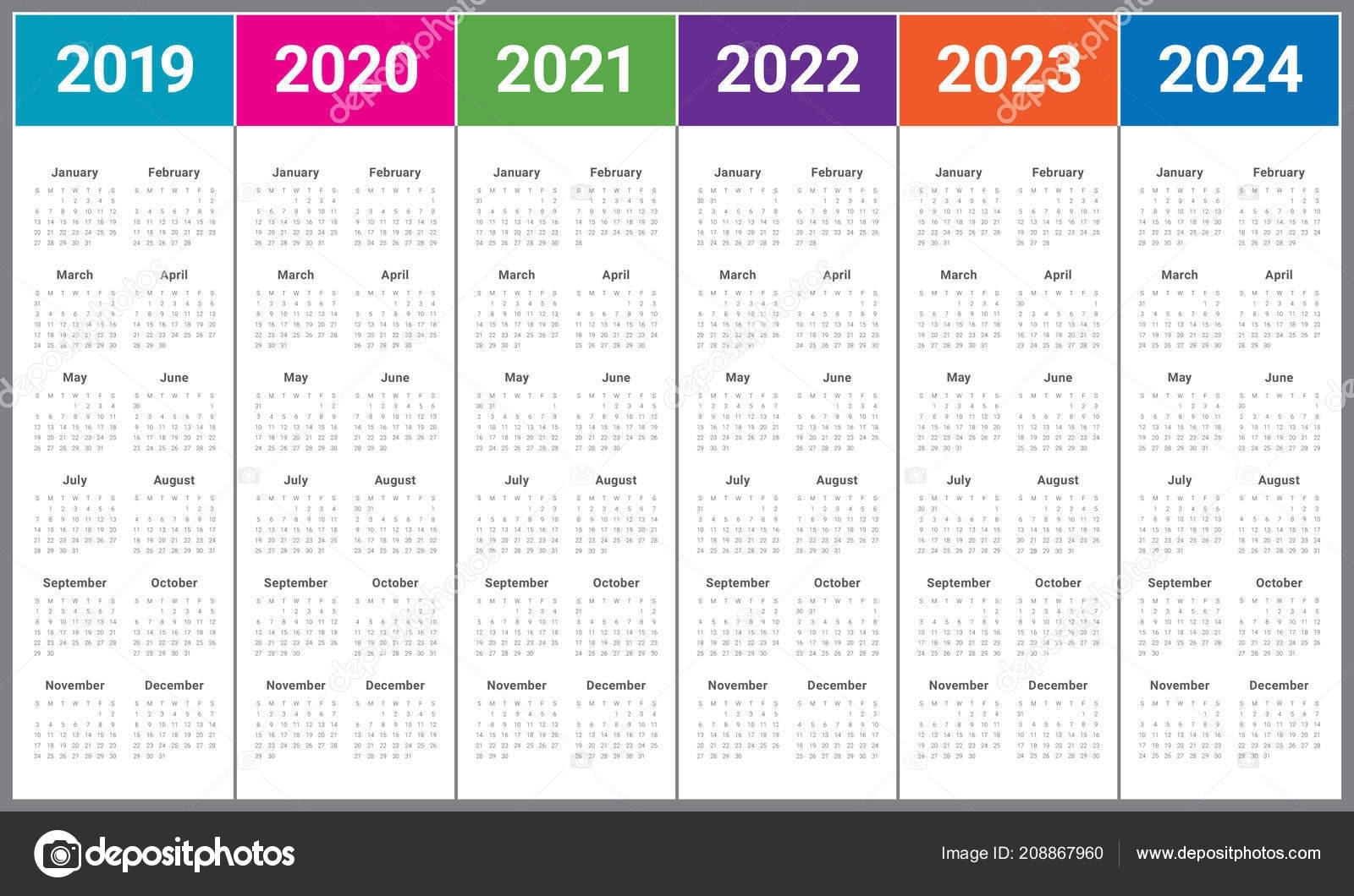 Year 2019 2020 2021 2022 2023 2024 Calendar Vector Design with regard to 2019 - 2023 Calendar Printable