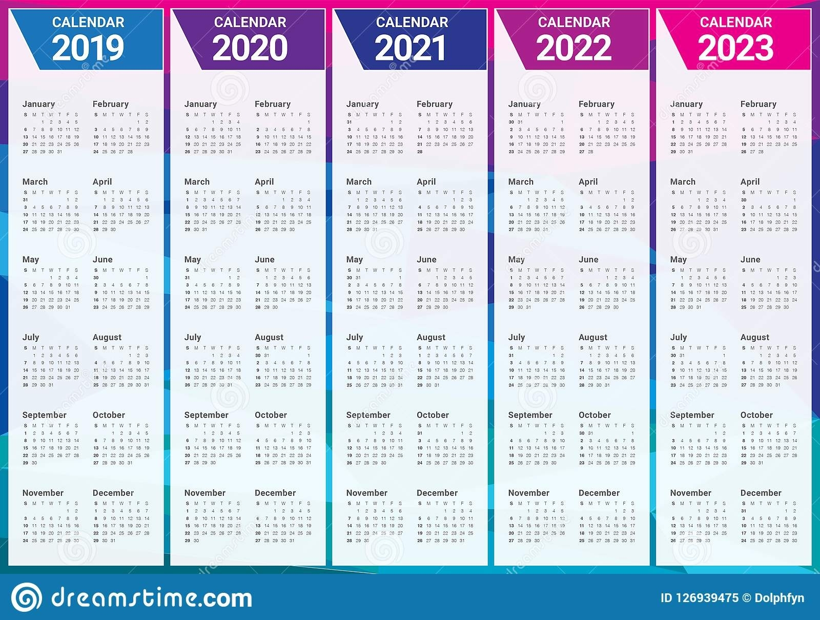 Year 2019 2020 2021 2022 2023 Calendar Vector Design inside Yearly Calendar 2020 2021 2022 2023