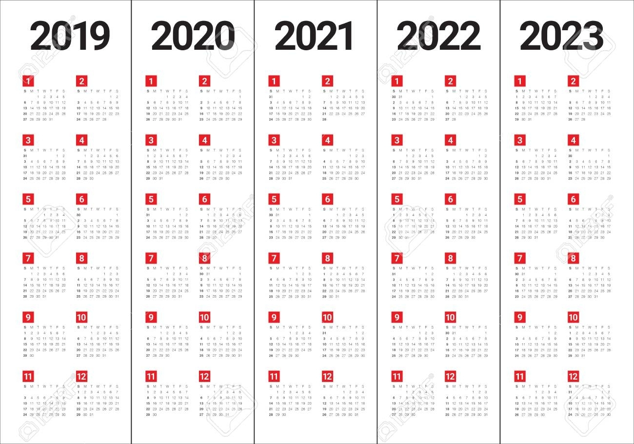 Year 2019 2020 2021 2022 2023 Calendar Vector Design Template,.. with regard to Calendar For 2020 To 2023