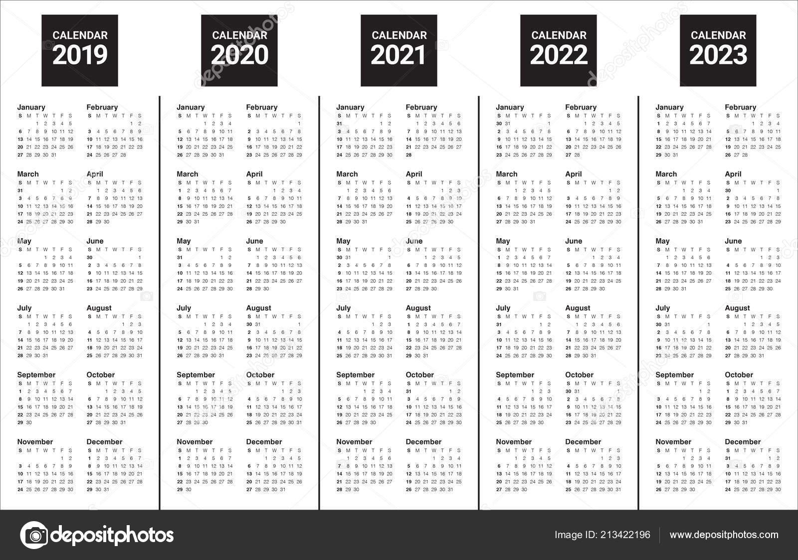 Year 2019 2020 2021 2022 2023 Calendar Vector Design with Calendar Years 2019 2020 2021 2022 2023