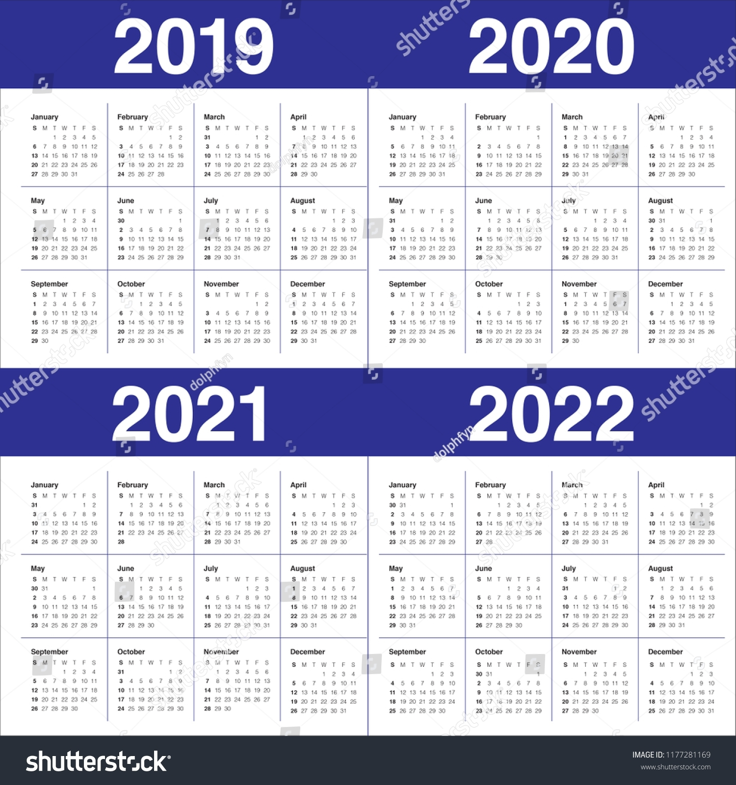 Year 2019 2020 2021 2022 Calendar Stock Vector (Royalty Free regarding Calendar Print Out 2019 2020 2021 2022