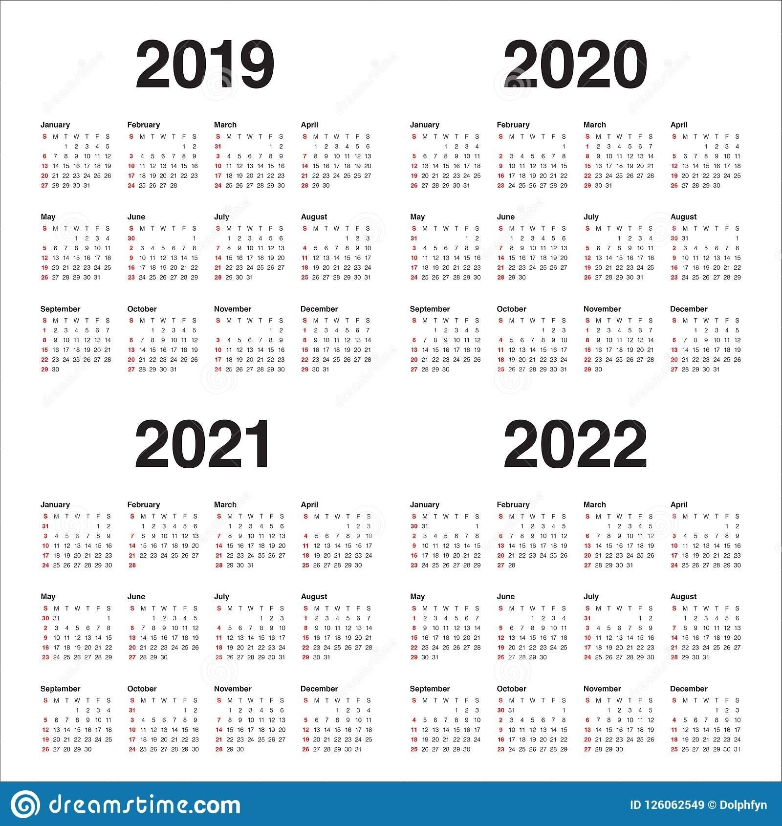 2019 2022 Year Calendar Printable - Calendar Inspiration ...