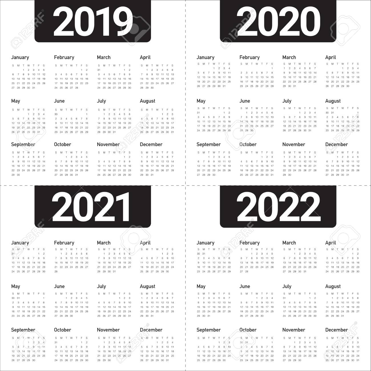 Year 2019 2020 2021 2022 Calendar Vector Design Template, Simple.. with 2019 2020 2021 2022 Calendars