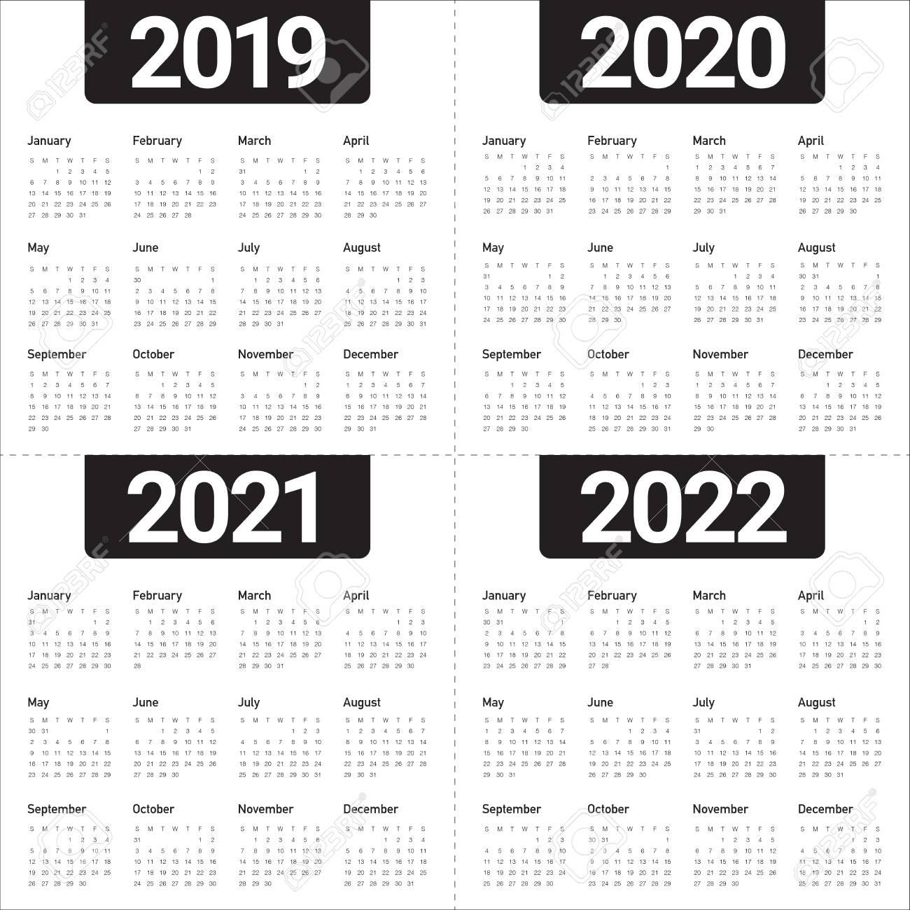 Year 2019 2020 2021 2022 Calendar Vector Design Template, Simple.. with regard to Calendar Print Out 2019 2020 2021 2022