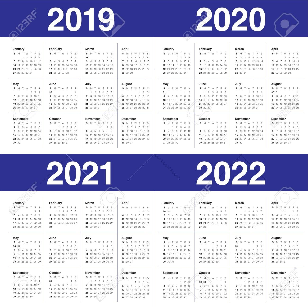 Year 2019 2020 2021 2022 Calendar Vector Design Template, Simple.. within 2019 2020 2021 2022 Calendars