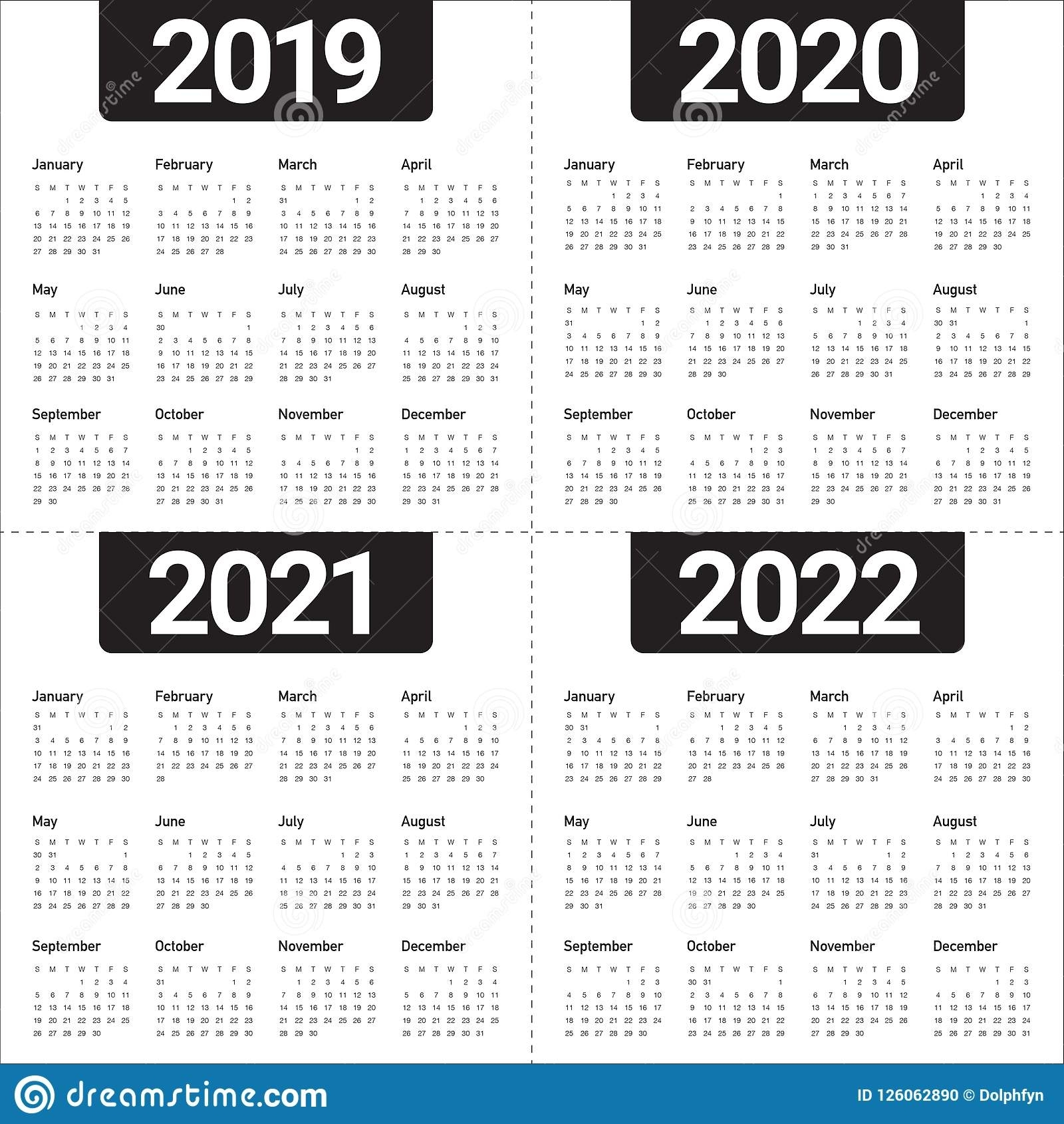 Year 2019 2020 2021 2022 Calendar Vector Design Template with regard to Free Printable Calendar For 2019 2020 2021