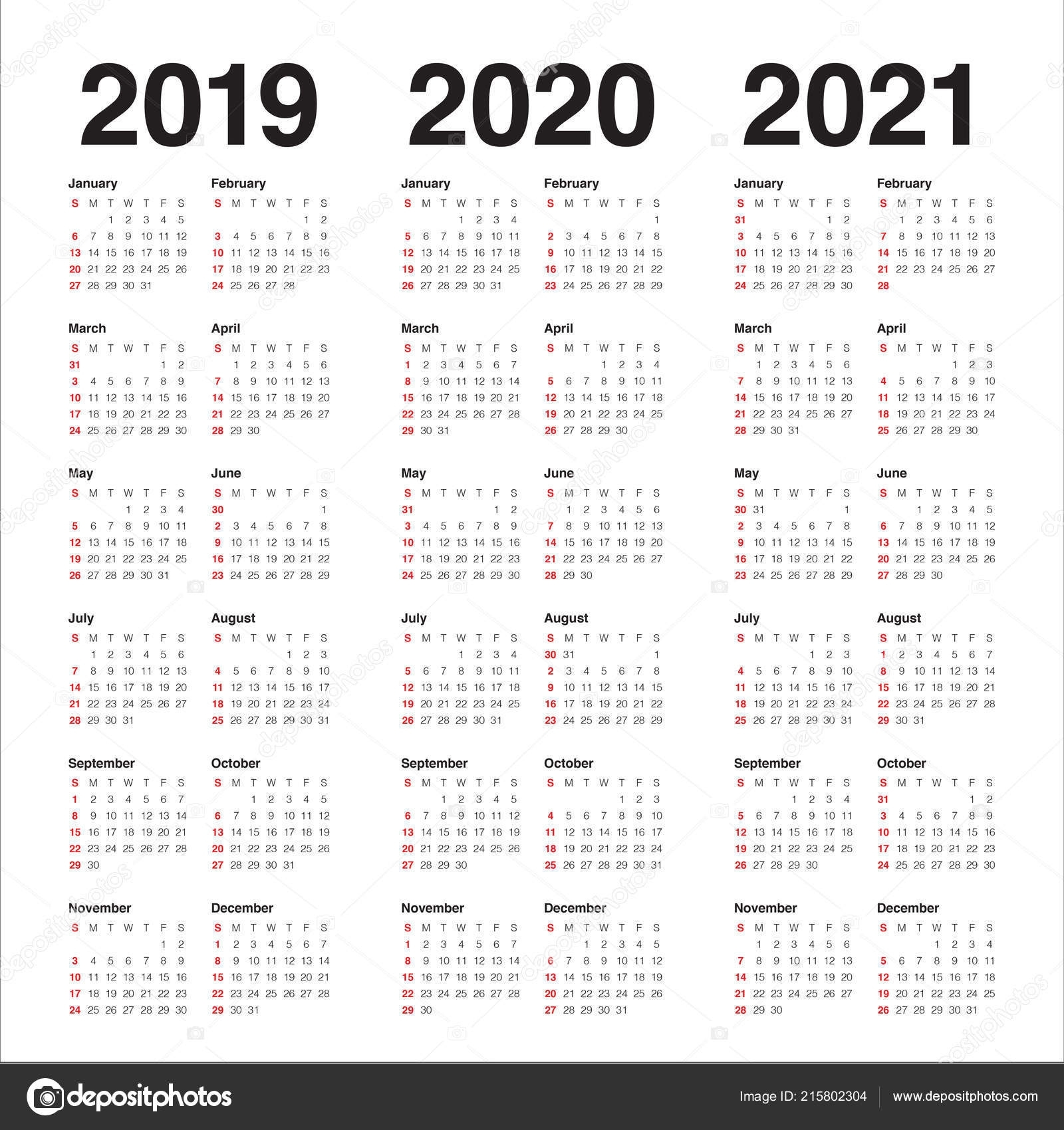 Year 2019 2020 2021 Calendar Vector Design Template Simple with Free Printable Calendar For 2019 2020 2021