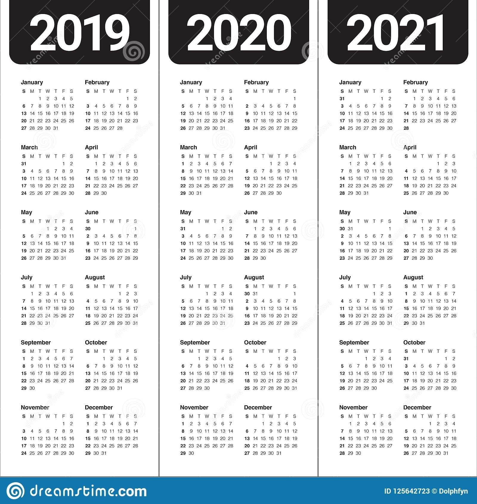 Year 2019 2020 2021 Calendar Vector Design Template Stock within Three-Year Calendar 2019 2020 2021
