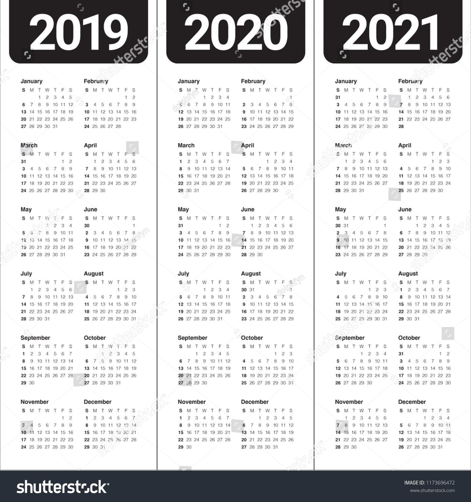 Year 2019 2020 2021 Calendar Vector Stock Vector (Royalty in 3 Year Calendar Printable 2019 2020 2021