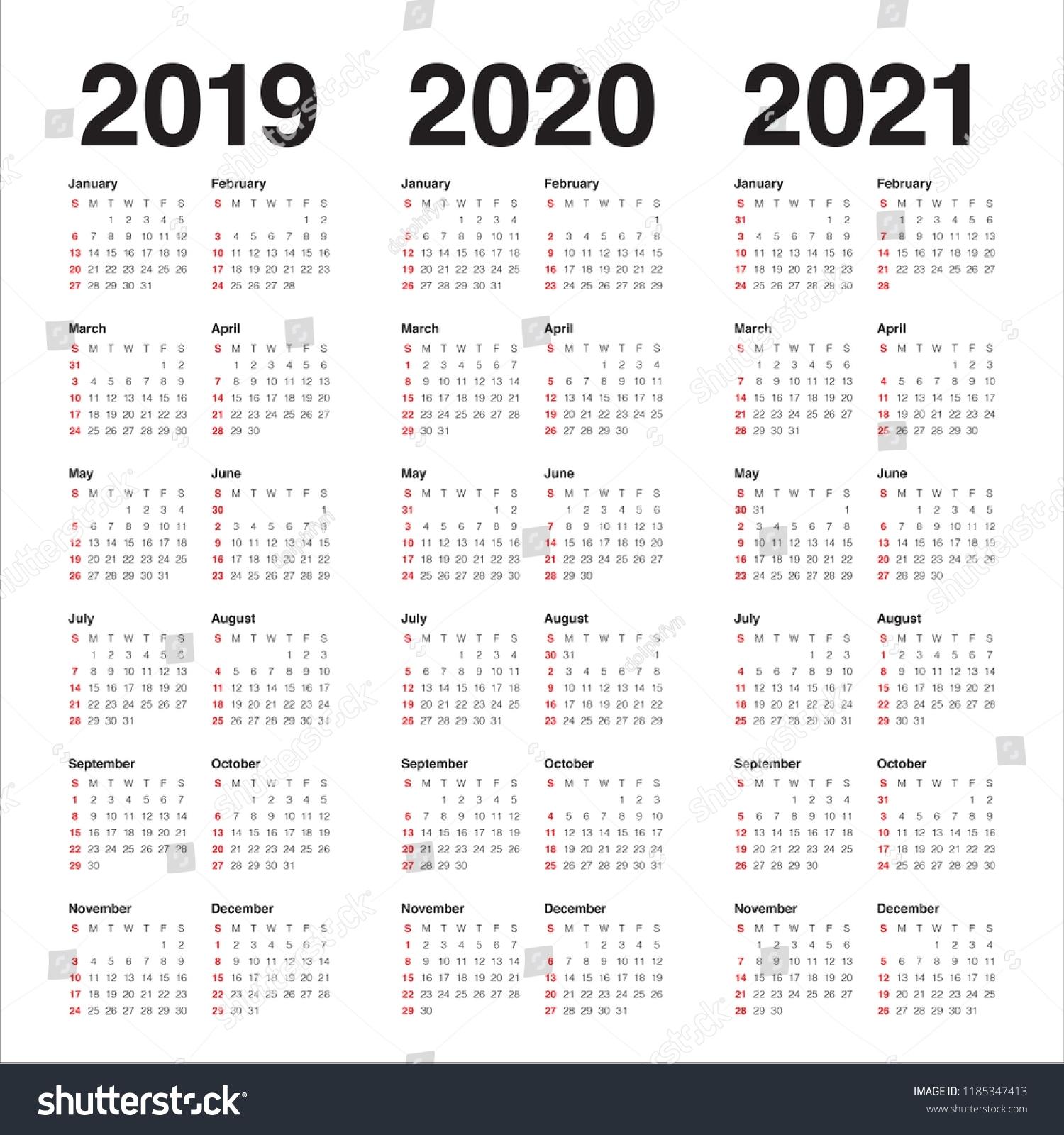 Year 2019 2020 2021 Calendar Vector Stock Vector (Royalty pertaining to 3 Year Calendar Printable 2019 2020 2021