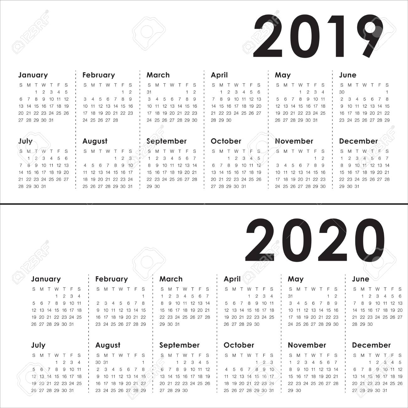 Year 2019 2020 Calendar Vector Design Template, Simple And Clean.. within More Calendar Templates: 2019 2020 Web Calendar