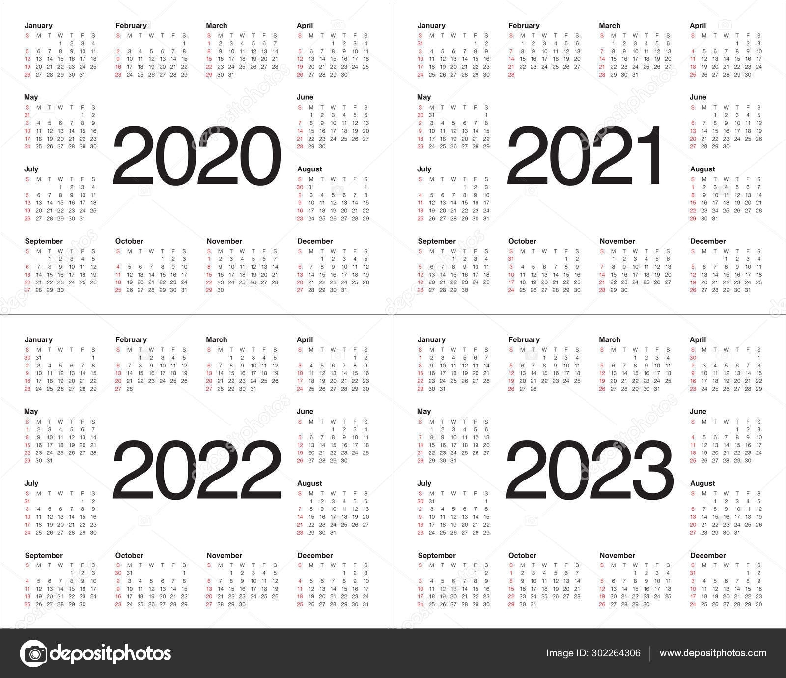 Year 2020 2021 2022 2023 Calendar Vector Design Template regarding Printable Calendar 2020 2021 2022 2023