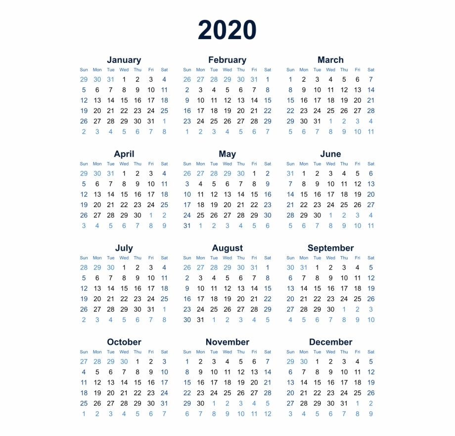 Year At A Glance 2020 - Calendar Inspiration Design with Year At A Glance 2020 Png
