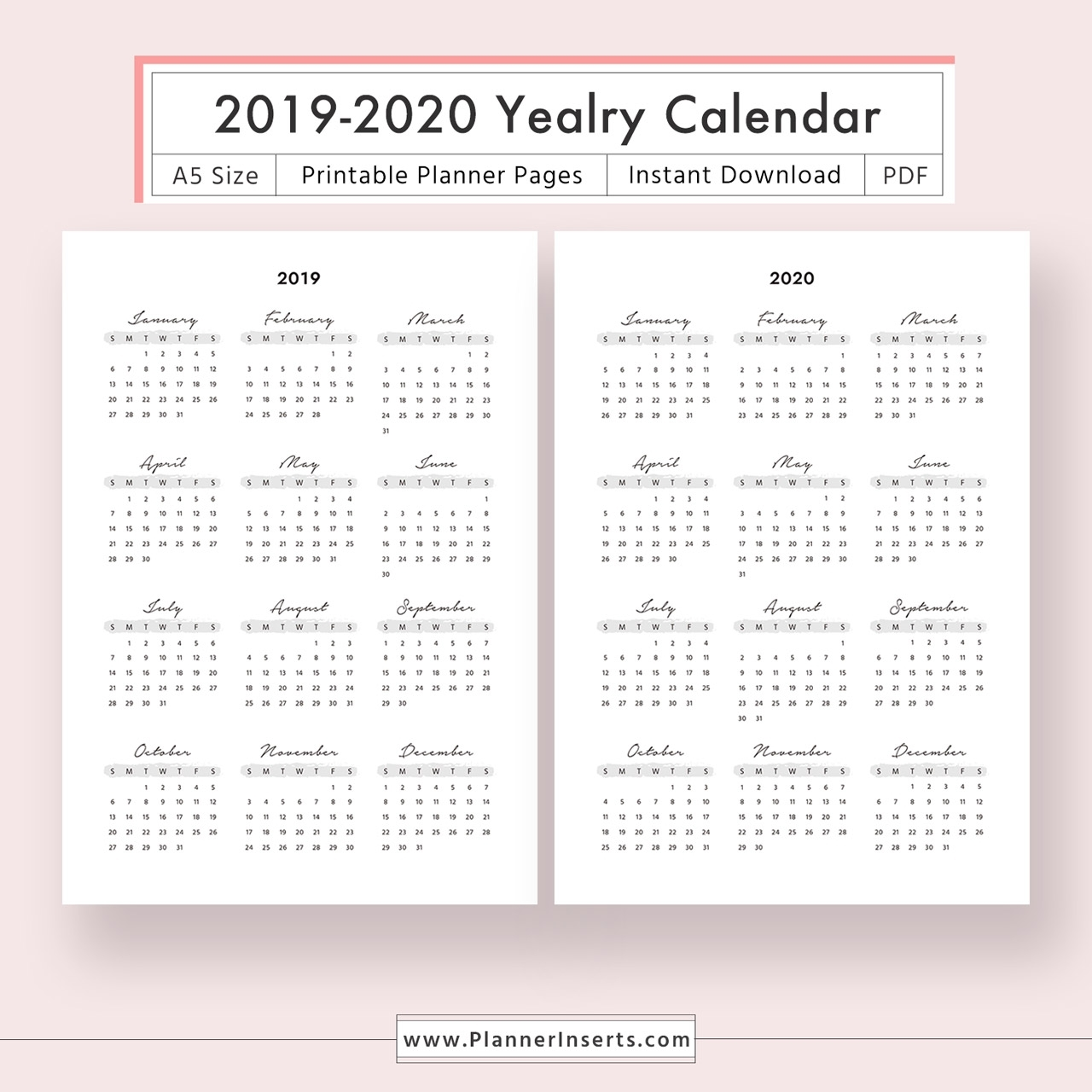 Year At A Glance 2020 - Colona.rsd7 inside Printable Year At A Glance 2020 Calendar