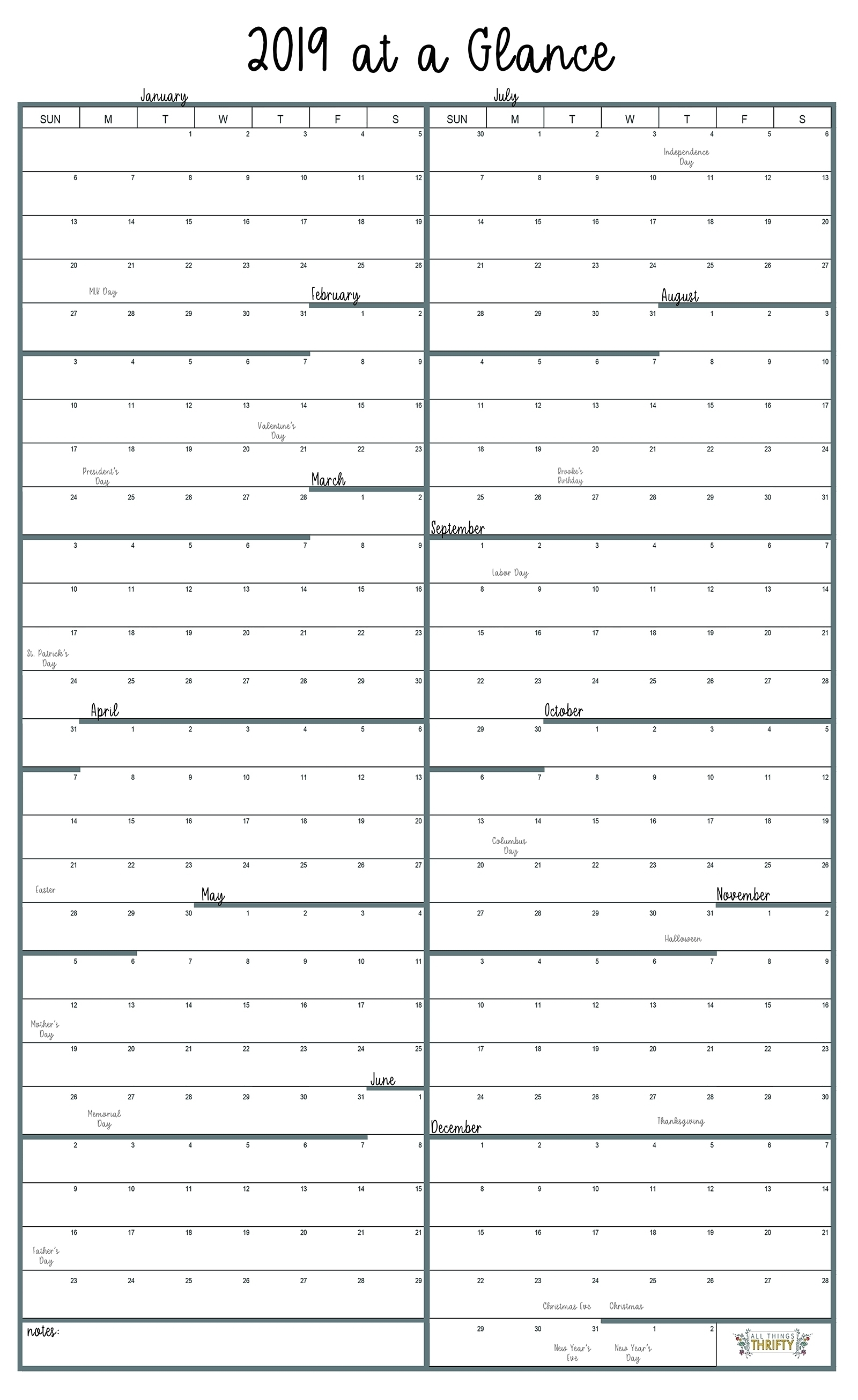 Year At A Glance Free Printable Calendar | All Things inside Free Printable Year At A Glance Calendar