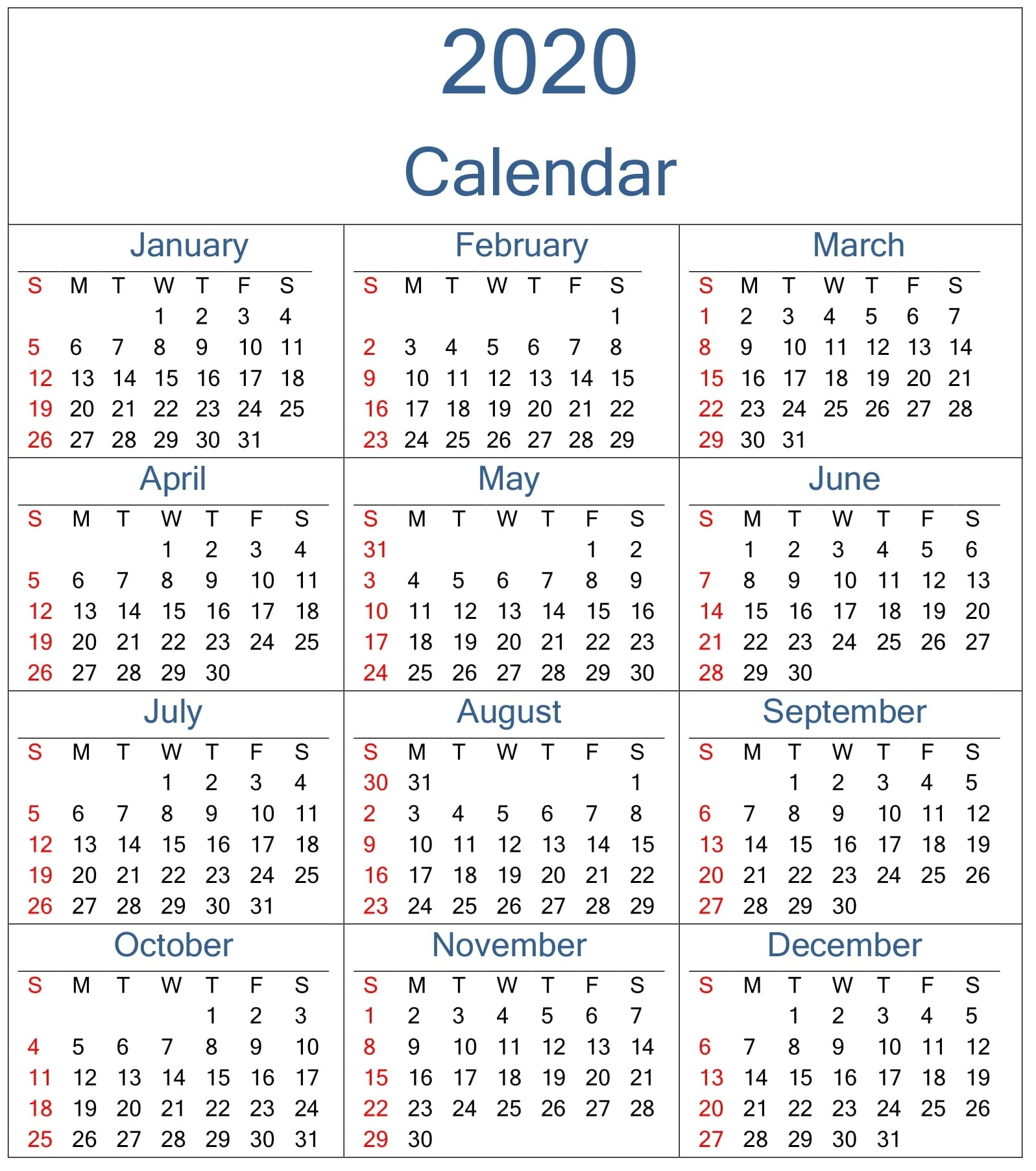 Yearly 2020 Calendar Excel Template - Latest Printable intended for 2020 Calendar With Week Numbers Printable