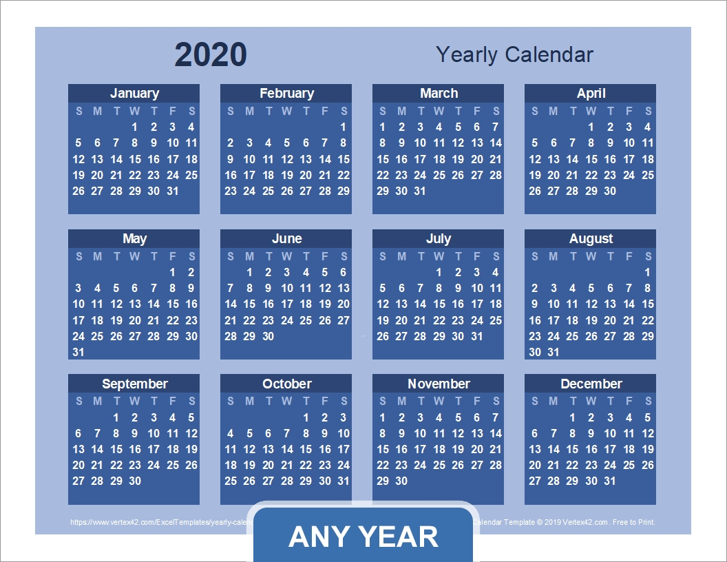 Yearly Calendar Template For 2020 And Beyond for More Calendar Templates: 2019 2020 Web Calendar