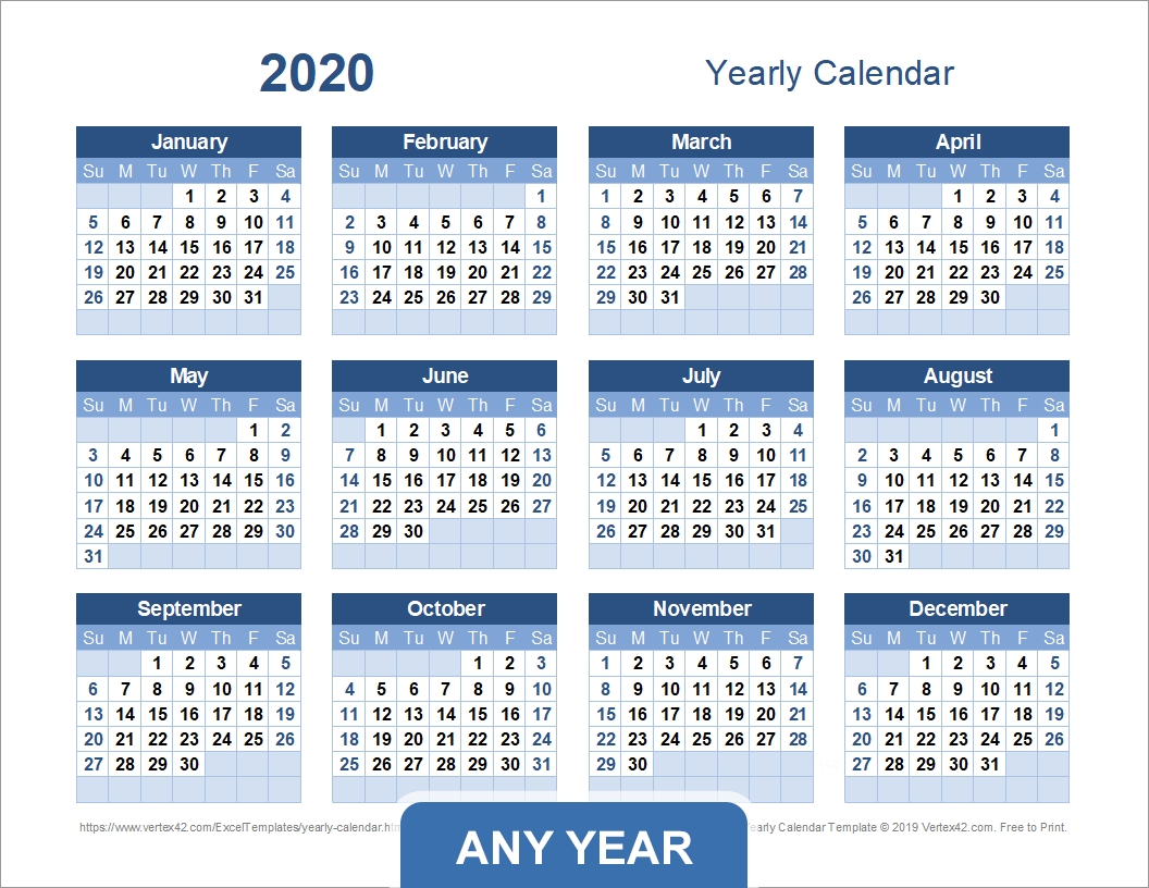 Yearly Calendar Template For 2020 And Beyond pertaining to Calander At A Glance 2020 Excel