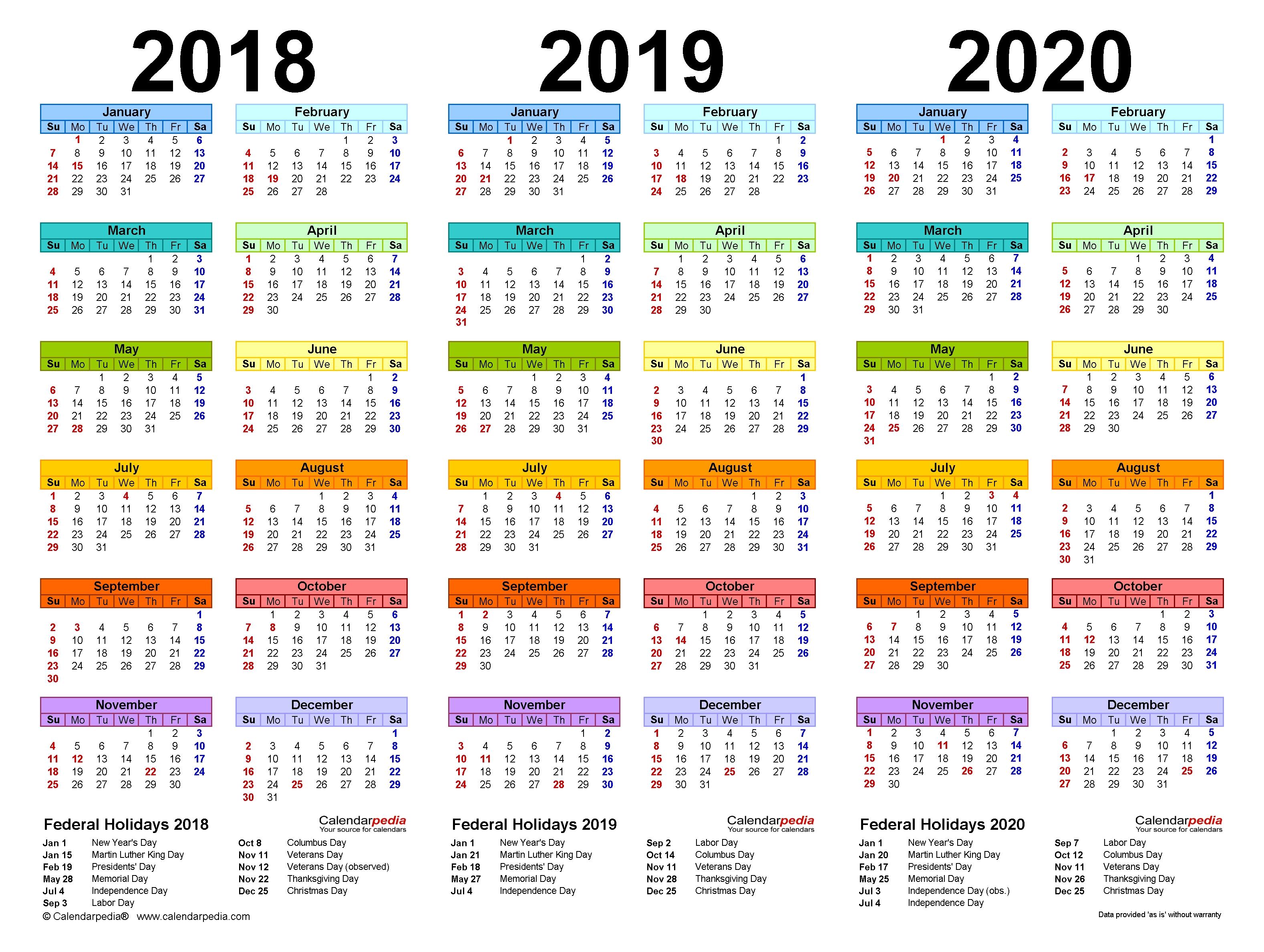 2018-2020 Three Year Calendar - Free Printable Pdf Templates in Calender For 2020 Week Wise In Hindi