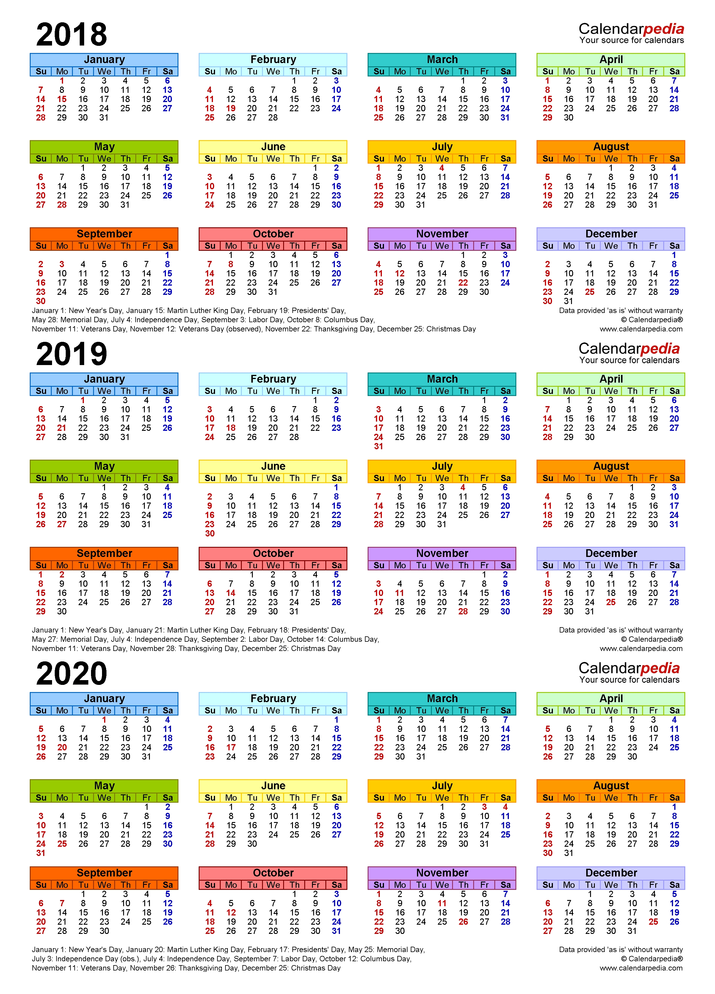 2018-2020 Three Year Calendar - Free Printable Pdf Templates intended for Calender For 2020 Week Wise In Hindi