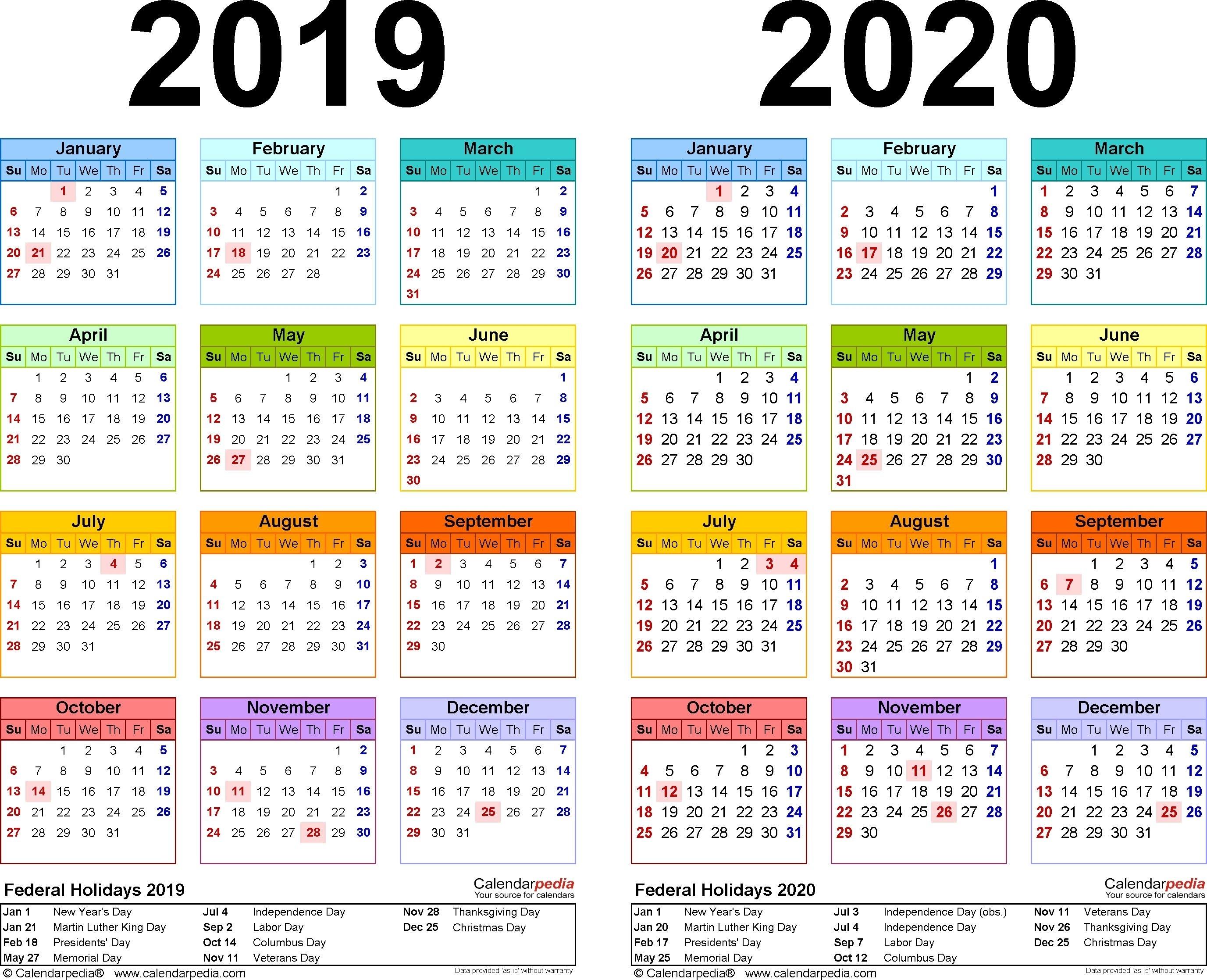 2019-2020 Calendar - Free Printable Two-Year Pdf Calendars within Free Printable Academic Calendar 2019-2020