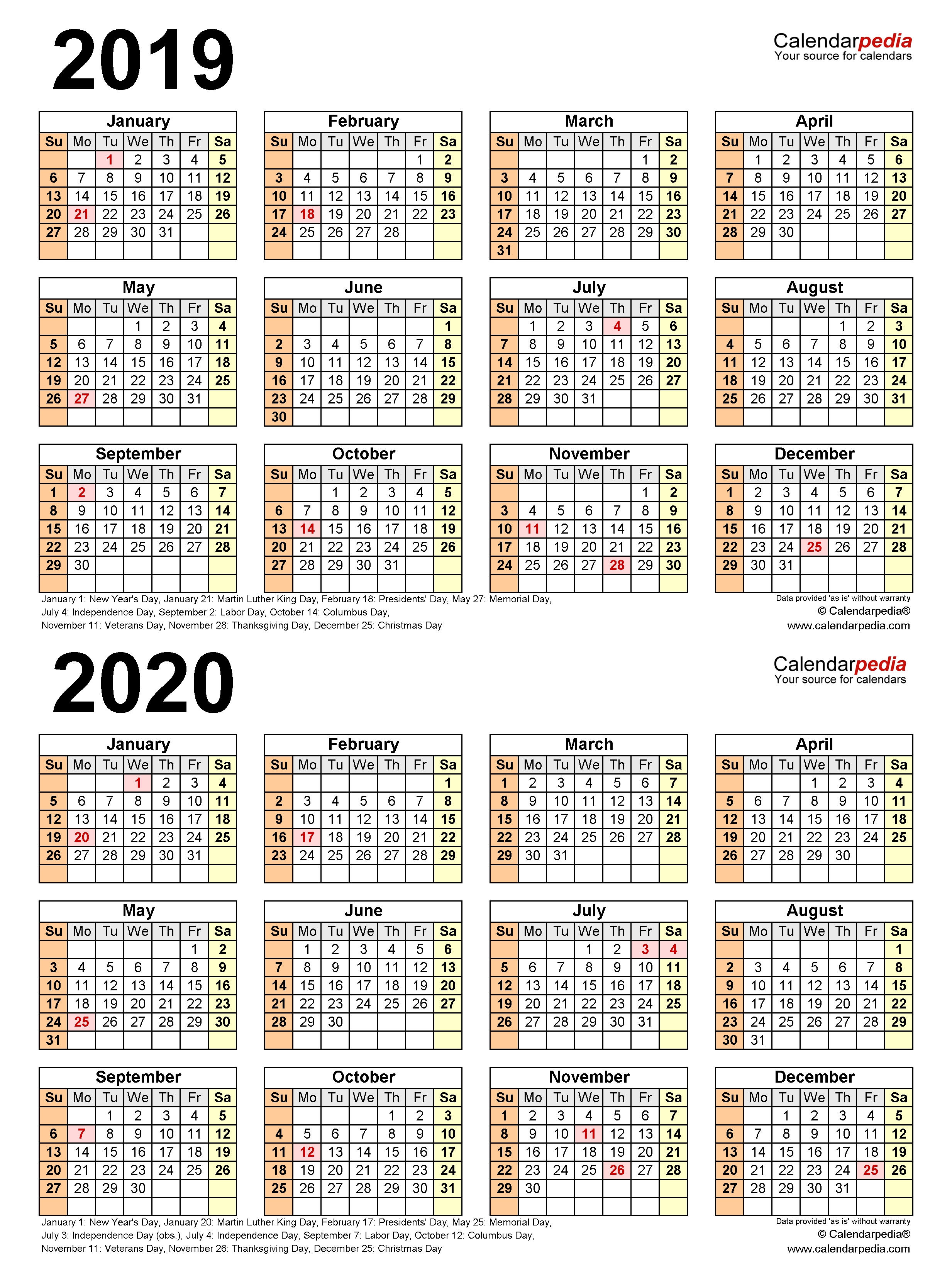 2019-2020 Two Year Calendar - Free Printable Pdf Templates throughout Calender For 2020 Week Wise In Hindi