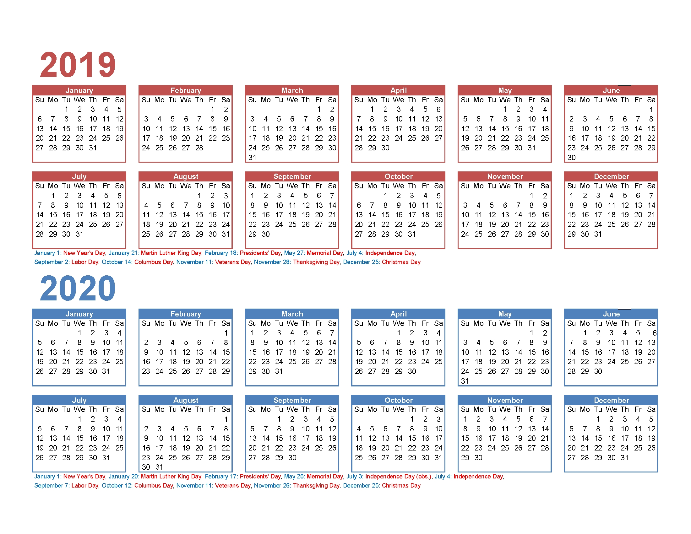 2019 And 2020 Monthly Calendar Printable Free Download pertaining to 2019 Free Printable Calendars Without Downloading