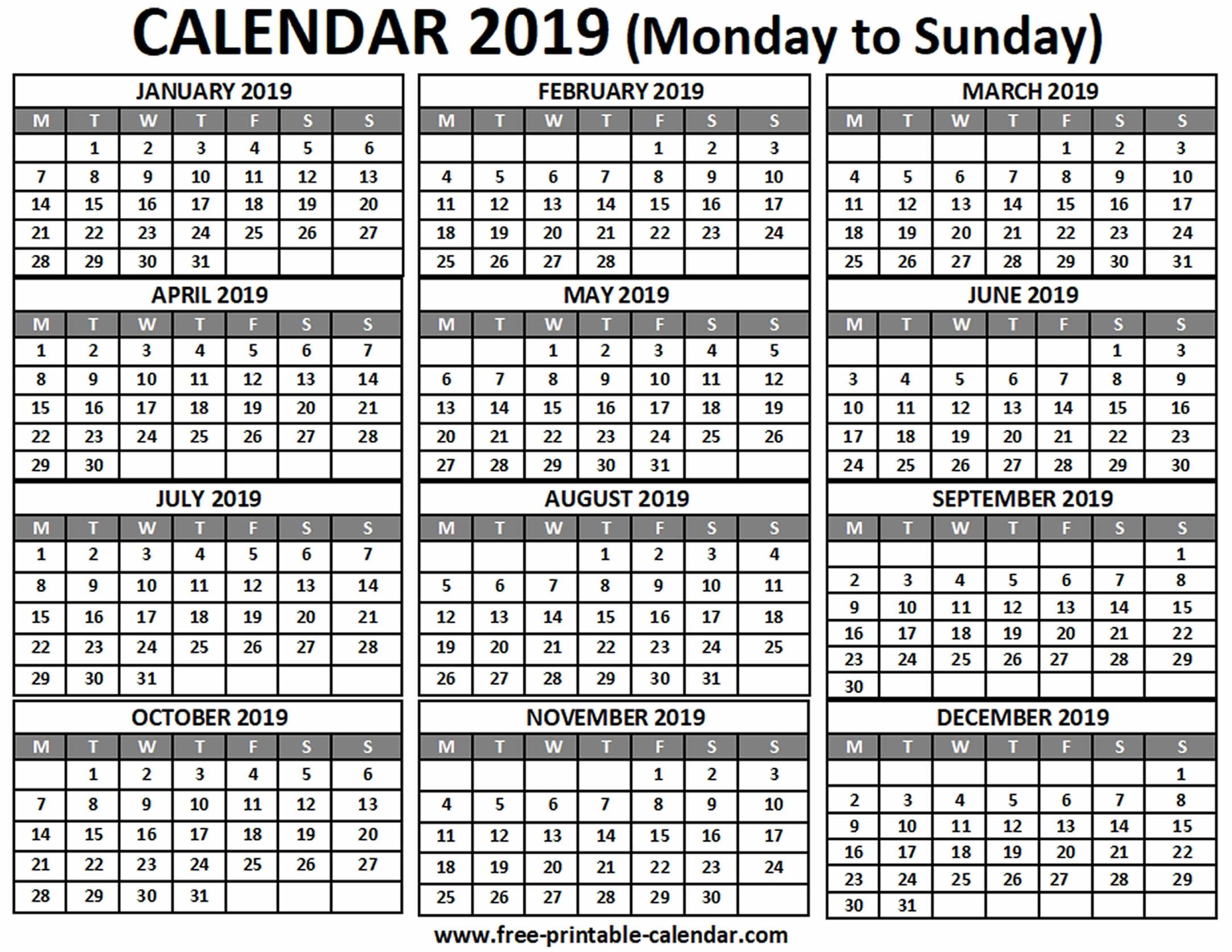 2019 Calendar - Free-Printable-Calendar throughout 2019 Free Printable Calendars Without Downloading
